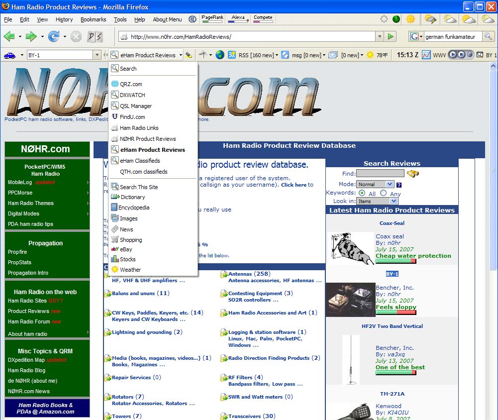 Ham Radio Toolbar in action