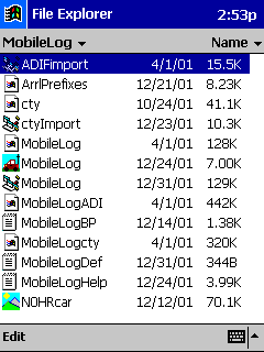 File explorer showing ADIFimport.vb and MobileLogADI.adi files